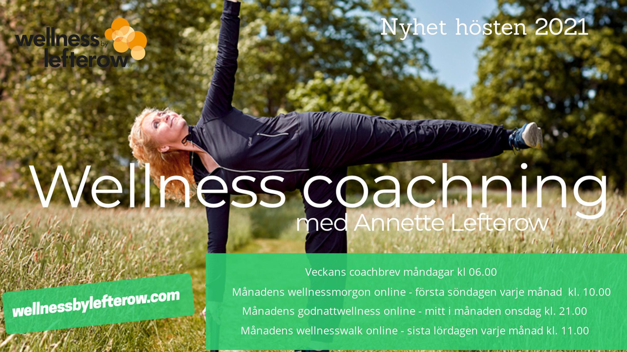 Bilden visar höstens utbud av wellness coachning med Annette Lefterow