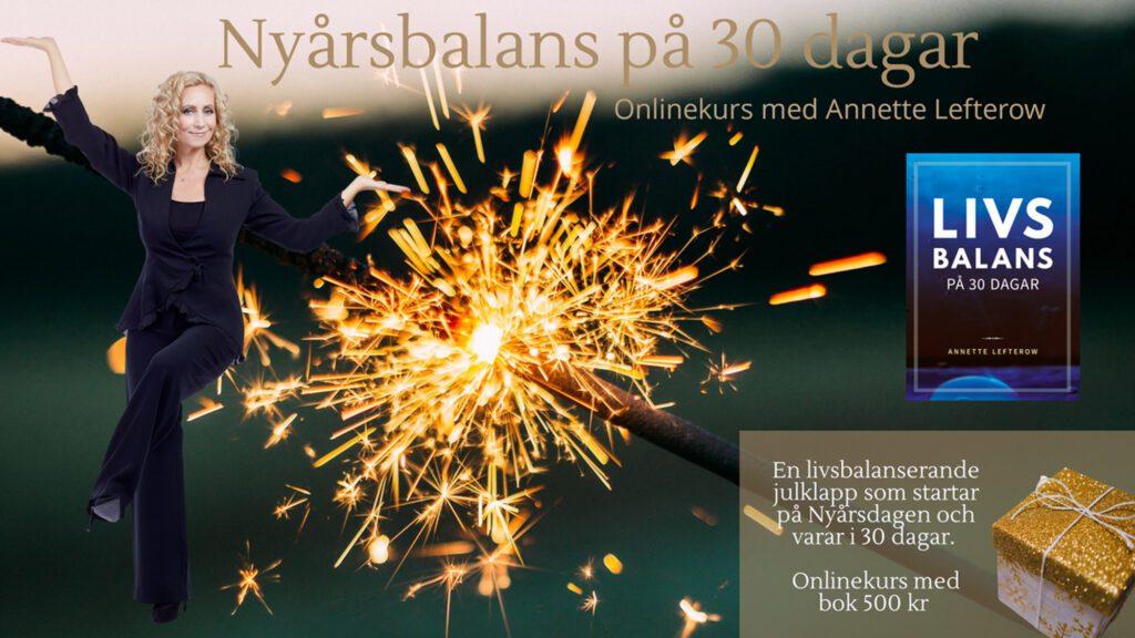 Bilden beskriver onlinekursen Nyårsbalans på 30 dagar
